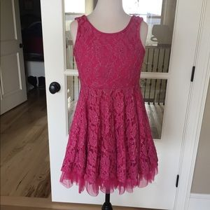 Girls pink lace dress skater A Line 10/12 Beautees